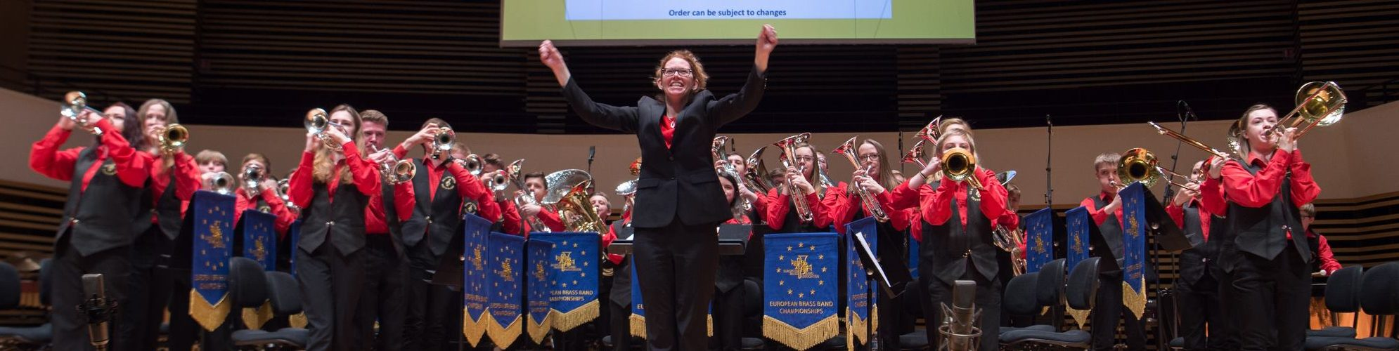 Samantha Harrison leads Elland Silver Youth Band at the European Championships